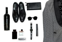 Draufsicht in der Art, in der Mode, in der Kleidung und in der Art der Männer lizenzfreies stockfoto