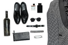 Draufsicht in der Art, in der Mode, in der Kleidung und in der Art der Männer lizenzfreie stockfotografie