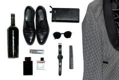 Draufsicht in der Art, in der Mode, in der Kleidung und in der Art der Männer lizenzfreie stockfotos