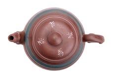 Draufsicht der chinesischen keramischen handgemachten Teekanne Stockbild
