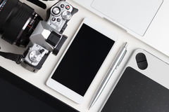 Draufsicht der Designerfunktionstabelle Stockfotografie