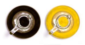 Draufsicht der Flaschen des balsamischen Essigs und des Olivenöls Lizenzfreies Stockbild