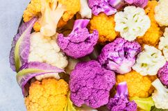 Draufsicht der frischen Blumenkohle Lizenzfreies Stockbild