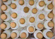 Draufsicht der Gruppe frischer Milch in der traditionellen Plastikflasche an Stockbilder