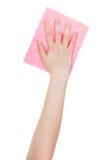 Draufsicht der Hand mit dem rosa Reinigungslappen lokalisiert Lizenzfreie Stockfotos