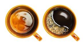 Draufsicht der Kaffeetasse Stockbilder