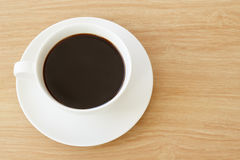 Draufsicht der Kaffeetasse Stockfotos