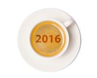 Draufsicht der Kaffeetasse lokalisiert auf weißem Hintergrund mit Ausschnitt Lizenzfreie Stockfotos