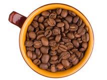 Draufsicht der keramischen Schale mit Kaffeebohnen stockbild