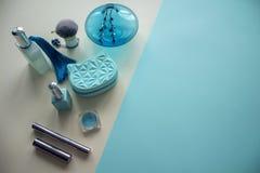 Draufsicht der kosmetischen Produkte stockbilder