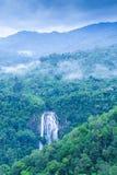 Draufsicht der Landschaft des schönen Wasserfalls im tropischen Wald, frischer Nebel, wilde Blumen mit grünen Bergen am regnerisc lizenzfreies stockbild
