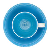 Draufsicht der leeren Tasse und Untertasse lokalisiert auf Weiß Stockfotografie