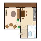 Draufsicht der modernen grafischen Wohnung Stockbild