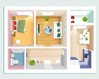 Draufsicht der modernen grafischen Wohnung: Schlafzimmer, Wohnzimmer, Küche, Halle und Badezimmer Stilvoller flacher Rauminnenrau Stockfotos