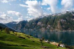 Draufsicht der Norwegen-Fjordküste mit kleinem Dorf Grünes Feld und kleine Holzhäuser auf der Bank von Aurlandsfjord Lizenzfreie Stockbilder