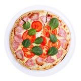 Draufsicht der Pizza Stockfotos