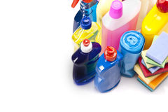 Draufsicht der Reinigungsmittel lizenzfreie stockbilder