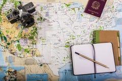 Draufsicht der Reisekarte Lizenzfreies Stockbild