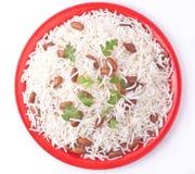 Draufsicht der Reisplatte Stockfotos