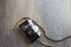 Draufsicht der Retro- Kamera Stockfotografie