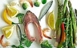 Draufsicht der rohen Bestandteile der gesunden Ernährung lizenzfreie stockbilder