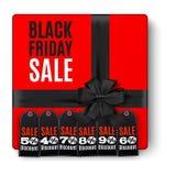 Draufsicht der schwarzen Geschenkbox mit rotem Bogen a stock abbildung
