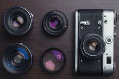 Draufsicht der sowjetischen Filmkamera Lizenzfreie Stockbilder