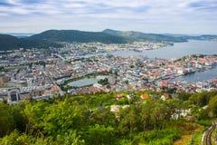 Draufsicht der Stadt von Bergen Lizenzfreies Stockfoto