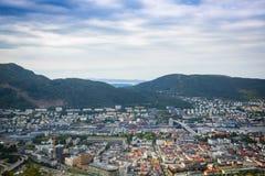 Draufsicht der Stadt von Bergen Lizenzfreie Stockfotografie