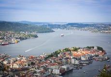 Draufsicht der Stadt von Bergen Stockfoto