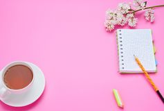 Draufsicht der Tabelle eines Jugendkindes, die Zusammensetzung der Bleistiftnotizbuchblume ein Glas des Getränks auf dem rosa Hin lizenzfreie stockfotos