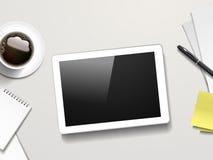 Draufsicht der Tablette und der Arbeitsplatzelemente Lizenzfreies Stockbild