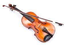 Draufsicht der Violine auf Weiß Stockbilder