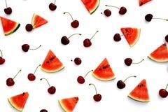 Draufsicht der Wassermelone und der Kirschfrischen Frucht stockfotos