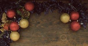 Draufsicht der Weihnachtsweinleseanordnung Lizenzfreies Stockfoto