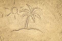 Draufsicht der Zeichnung des sandigen Strandes Hintergrund mit Kopienraum Stockbild