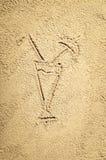Draufsicht der Zeichnung des sandigen Strandes Hintergrund mit Kopienraum Stockfotografie