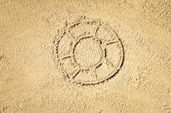 Draufsicht der Zeichnung des sandigen Strandes Hintergrund mit Kopienraum Lizenzfreies Stockbild