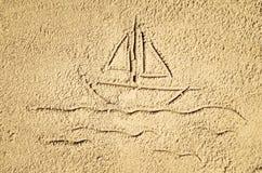 Draufsicht der Zeichnung des sandigen Strandes Hintergrund mit Kopienraum Stockfoto