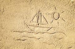 Draufsicht der Zeichnung des sandigen Strandes Hintergrund mit Kopienraum Lizenzfreie Stockfotos