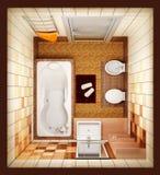 Draufsicht des Badezimmers Stockfotografie