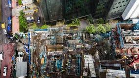 Draufsicht des Baustellebereichs in Kuala Lumpur, Malaysia mit Miniaturneigungsschiebelinseneffekt stock video footage