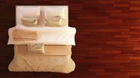 Draufsicht des Betts Stockbilder