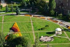 Draufsicht des Blumenbeets in Zelenograd von Moskau, Russland Lizenzfreie Stockfotos