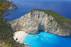 Draufsicht des Buchtwrackes von Zakynthos in Griechenland Lizenzfreie Stockbilder