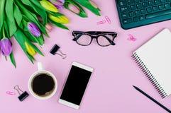 Draufsicht des elektronischen Zubehörs auf rosa Hintergrund Lizenzfreies Stockfoto