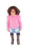 Draufsicht des entzückenden afroen-amerikanisch Mädchens Stockbilder