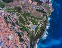 Draufsicht des Forts Falcone in Portoferraio auf Elba-Insel, Ita stockbild