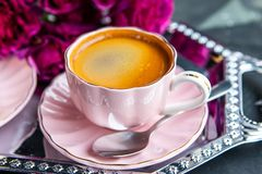 Draufsicht des frischen Kaffee-Espressos stockbild