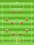 Draufsicht des Fußballs oder des Fußballplatzes mit der editable Anordnung für Spieler Stockbild
